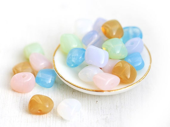 Czech nugget beads, Pastel mix spacers, puffy square, Easter colors - 6x8mm - 24Pc - 618