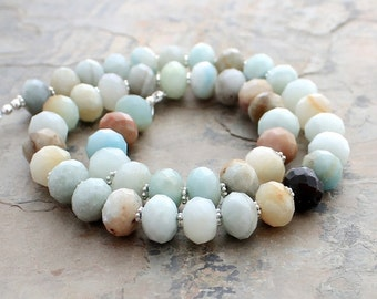 Rustic Bead Necklace: Blue, Brown, Green, and Black Amazonite Gemstones with Sterling Silver