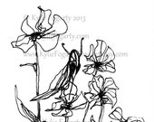 ACEO, Miniature Drawing, Black and White, Sketch / Line Drawing, Insect, Flowers, Original Miniature Art, One of A Kind Artwork