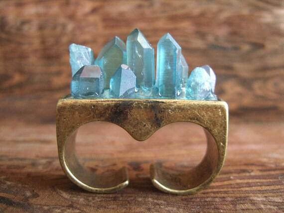 Aqua Aura Quartz Crystal Overgrowth Ring