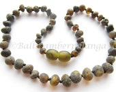 Raw Unpolished Black Baltic Amber Baby Teething Necklace