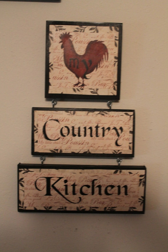rooster decorcountry kitchen signkitchen decor - Rooster Kitchen Decor