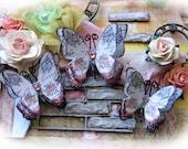 Reneabouquets Butterfly Set - English Rose Garden Butterflies Scrapbook Embellishment Tag, Card, Mini Album, Wedding