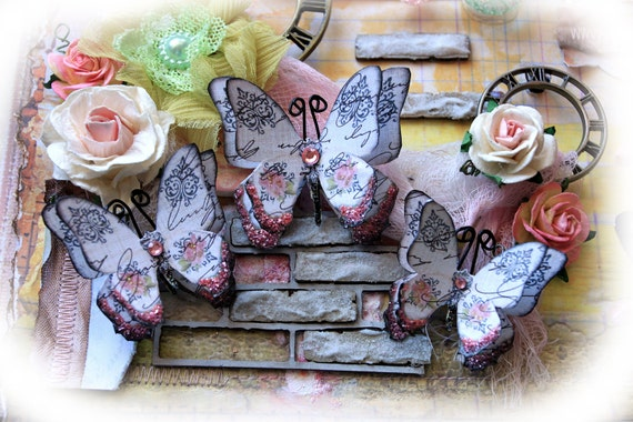 Reneabouquets Butterfly Set - English Rose Garden Butterflies Scrapbook Embellishment Tag, Card, Mini Album, Wedding