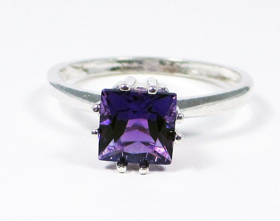 princess cut amethyst ring sterling silver by dreamyrings