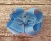 Boutique hair bow - LIGHT BLUE boutique hair bow - baby hairbows, girl hairbows, boutique hairbows