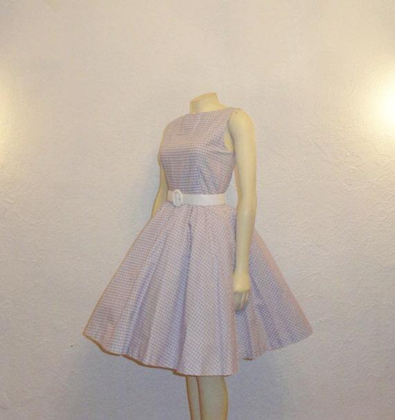 Vintage Dress 50s 60s Rockabilly Full Circle Lavender & White Check Medium