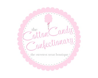 Custom Logo Premade Logo Design and Watermark Scalloped Frame with Cotton Candy Whimsical