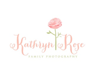 Custom Logo Design Premade Logo and Watermark for Photographers and Small Crafty Boutiques Hand Drawn Rose with Shabby Chic Script
