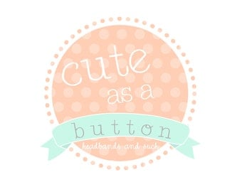 Custom Logo Premade Logo and Watermark for Photographers and Small Crafty Boutiques Polka Dot Round Frame with Banner