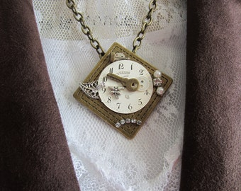 Watch Face Antique Gold Steampunk Necklace
