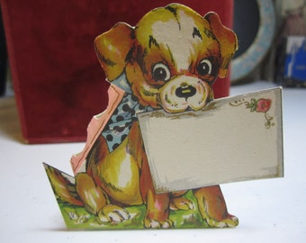 1920's-30's  Art Deco Die Cut  unused party favor nut or candy cup place card  cute dog with gold gilded accents early hallmark