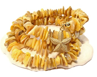 Yellow Dyed Coral Chip and Mother of Pearl Wrap Around Bracelet with Tibetan Goldtone Starfish Charm, yellow bracelet, wrap bracelet, beach