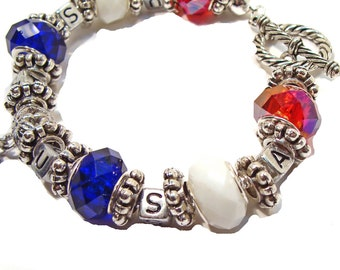 Red, White and Blue Patriotic Charm Bracelet with Flag Heart Charm
