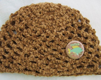 Chestnut colored crochet baby hat is Catch Of The Day