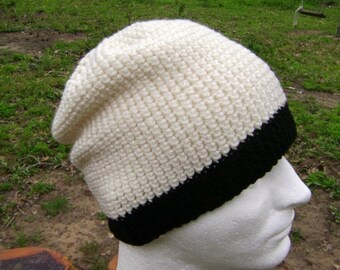 Crochet Slouchy Hat Beanie Skullcap  Men Women Teen Aran and Black