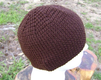 Crochet Hat Beanie Skullcap Men Women Teen Chocolate Brown