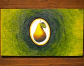 Juicy Pear Oil Hand Painted Kitchen Magnet ACEO