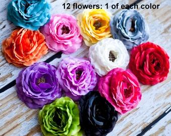 "Ruffled Ranunculus - Soft Petal Ranunculus 3.5"" - Set of 12 - 1 Of Each Color - Ruffled Rannies"