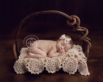 Newborn Baby Blanket,   Lace Blanket, Photo Prop, Cream Blanket