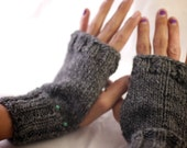 Dark Gray Fingerless Mittens with Turquoise