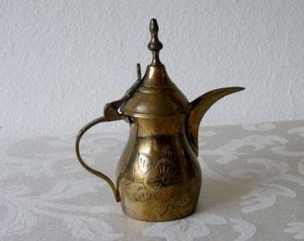 Vintage Mini Brass Arabic Coffee Pitcher with Lid
