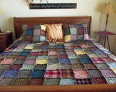 Twin Size Patchwork Rag Quilt - Made to Order, Handmade Quilt, Patchwork Quilt, Rustic Quilt, Country Quilt, Western Quilt, Primitive Quilt