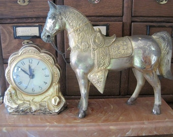 Antique United Clock Corp. Horse Statue & Clock