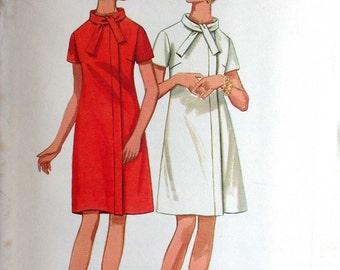 "Butterick Dress Pattern No 4761 UNCUT Vintage 1960s Size 16 Bust 38"" Short Sleeves A Line Front Zipper Standing Collar"