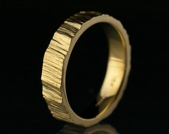 Saw Cut Wedding Band Ring - 5mm Textured Yellow Gold Wedding Ring