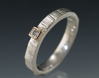 Princess cut Moissanite 14K gold Bezel on Sterling Silver, palladium or white gold band, Saw Cut Textured Wedding Ring