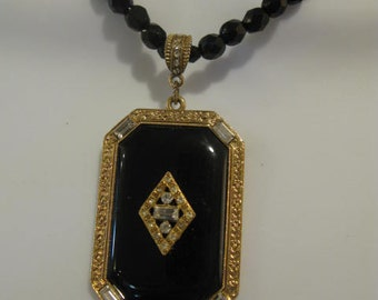 Art Deco 1928(R) Jet Black Necklace with Classic Deco Medallion