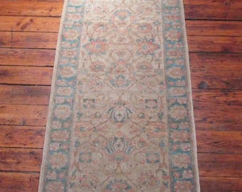 Afghan Mahal Rug, Handmade with All Natural Dyes, Oriental Rug, 3'x9'
