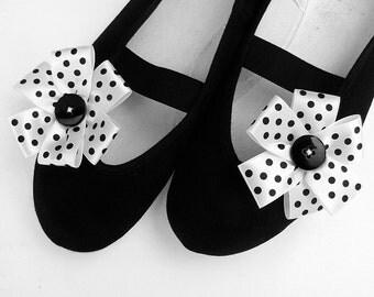 black & white polka dot / ballet flats shoes jarmilki wedding woman bride poletsy fashion romantic elegant spring summer vintage gift dots
