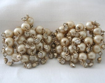 Vintage Rhinestone and Pearl Cha Cha Earrings