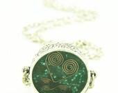 Orgone Energy Pendant - Double Sided Antique Silver with Malachite Gemstone - Unisex Necklace - Mens Necklace - Artisan Jewelry