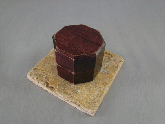 Ring Box, Antiqued Octagon Mahogany with Stained finish. Free Shipping and Engraving. RB41