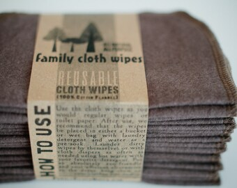 Cloth Wipes, Diaper Bag Wipes,  Baby Wipes, Family Cloth Wipes - Set of 20 - Gender Neutral - Solid Brown Double Layer