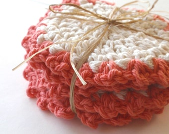 Crocheted Coasters for the home Coral Set of 4