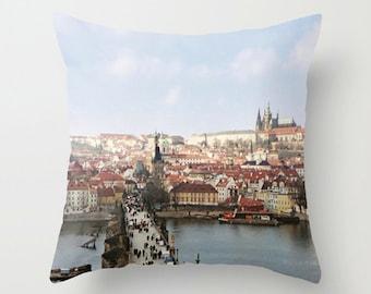 Cityscape Sofa Pillow, Urban Accent Pillow, Prague Travel Throw Pillow Cover, Charles Bridge 18x18 22x22 Decorative Pillow Cushion