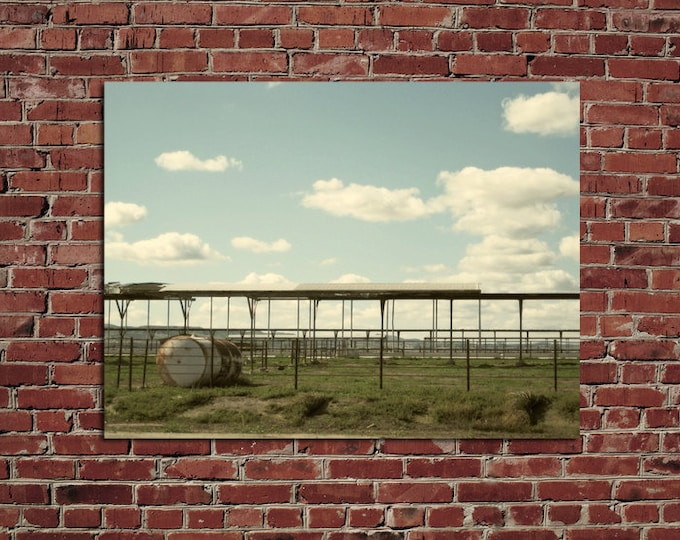 Abandoned Dairy and Cumulus Clouds, Rural Landscape, 12x16 Fine Art Photograph Home Wall Decor