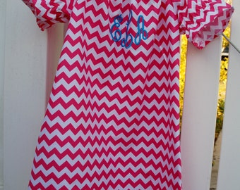 Monogrammed Chevron Girls Peasant dress