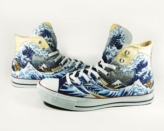Fanart The great wave off Kaganawa, custom converse hand painted shoes