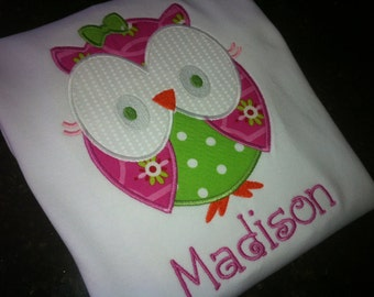 Owl Shirt for Girls - Boutique Owl Shirt