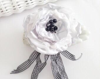 Black & Silver  Flower Clip  Hair Flower Pin Fashion Accessory Fascinator Fashion Jewelry