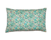 "Turquoise Floral Betsy Liberty of London Print Throw Pillow Cover 12""x20"" - More Sizes and Colors Avalaible - gGlinParis"
