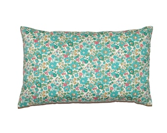 """Turquoise Floral Betsy Liberty of London Print Throw Pillow Cover 12""""x20"""" - More Sizes and Colors Avalaible"""