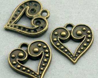 Love Heart Charms Beads Antique Bronze tone 8pcs base metal 15X16mm CM0335B