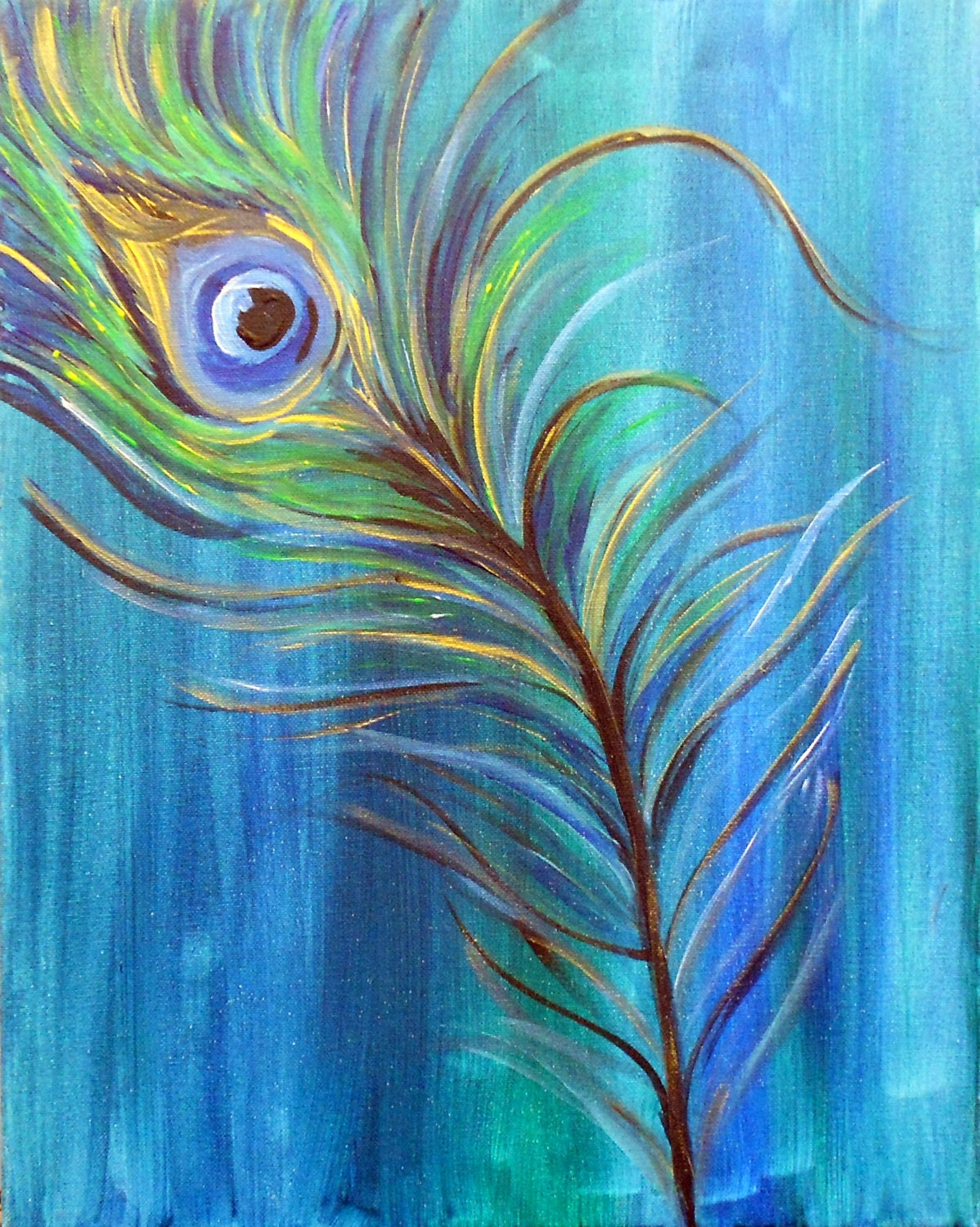 Original modern peacock feather acrylic by havepaintwilltravel for Painting feathers on canvas