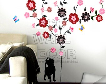 PEEL and STICK Removable Vinyl Wall Sticker Mural Decal Art - Cat and Colorful Daisy Flower Tree